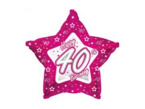 Fóliový balón Hviezda ,,40,, Happy Birthday pink 46cm