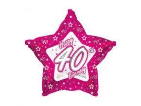 Fóliový balón s číslom 40 Happy Birthday pink