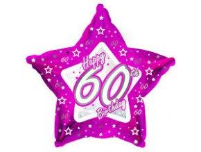 Fóliový balón Hviezda ,,60,, Happy Birthday Pink 45cm