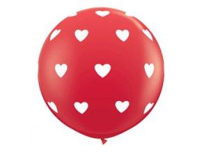 Jumbo balón latexový Červený so srdiečkami 95cm