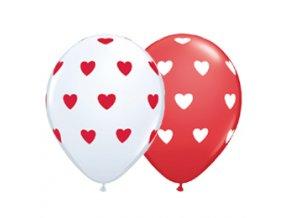 Latexové balóny biele/červené so srdiečkami 5ks v balení