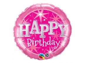 Fóliový balón Happy Birthday ružový 45cm