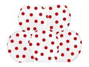 """Latexový balón 14"""" biely s červenými bodkami 6 ks v balení"""