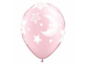 Latexový balón Hviezdičky a mesiačik pink 6ks v balení