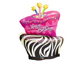 Fóliový balón Happy Birthday Zebra 104cm