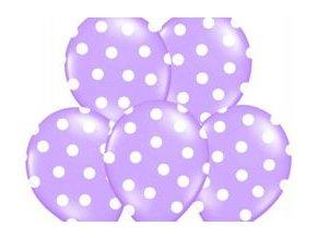 """Latexový balón 14"""" Levanduľový s bielymi bodkami 1ks v balení"""