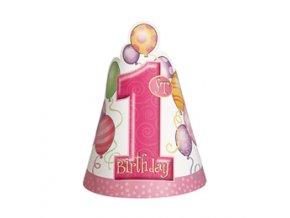 Klobúčik 1st Birthday ružový 8ks v balení
