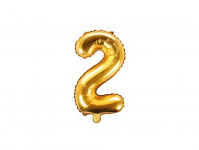 eng pl Mini Shape Number 2 Gold Foil Balloon 35 cm 1 pc 34270 1