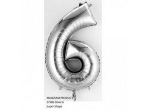pol pm Balon foliowy cyfra 6 srebrna 20 x 35 cm 21584 1