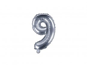 eng pl Mini Shape Number 9 Silver Foil Balloon 35 cm 1 pc 34287 2