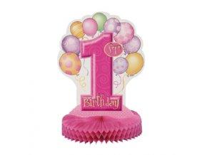 Stolová dekorácia 1st Birthday ružová 36cm