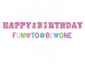 Banner 1st Happy Birthday ružový
