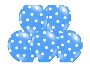 "Latexový balón 14"" pastel mid modrý s bielymi bodkami 6ks v balení"
