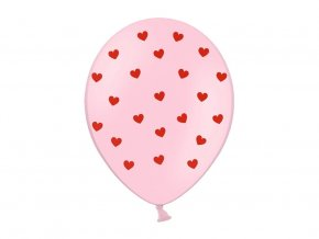 eng pl Pastel pink balloons with hearts for Valentines Day 30 cm 6 pcs 33432 2