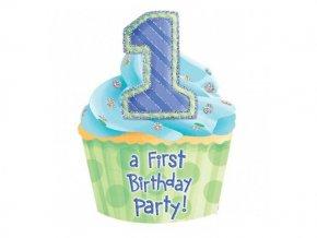 Pozvánky 1st Birthday modré 8ks v balení