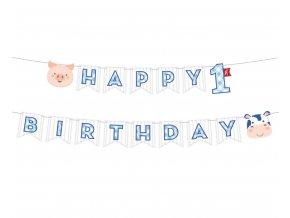 banner farmhouse pierwsze urodziny niebieski 15c