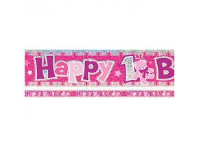 happy 1st birthday pink banner BANN568 v2