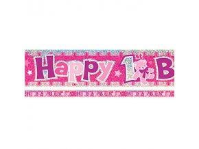 happy 1st birthday pink banner BANN568 v2