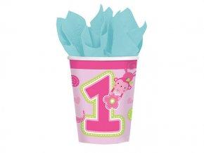 Pohár 1st Birthday Safari ružový, 266ml, 8ks v balení