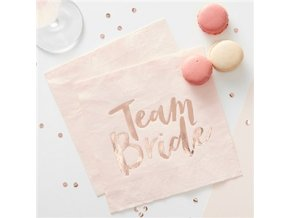 Team Bride Rose Gold Foiled Paper Napkins HENP077 v1 a1