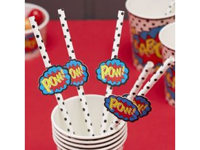 Pop Art Superhero Straws with Flags POPASTRA3