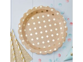 Pick Mix Kraft Metallic Polka Dot Plates PMIXPLAT4