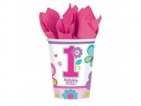 Pohár 1st Birthday ružový 266ml, 8ks v balení