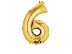 eng pm Mini Shape Number 6 Gold Foil Balloon 20 x 35 cm 1 pc 21585 1