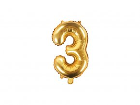 eng pl Mini Shape Number 3 Gold Foil Balloon 35 cm 1 pc 34271 2