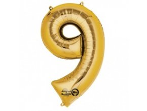 eng pm Mini Shape Number 9 Gold Foil Balloon 20 x 35 cm 1 pc 22799 1