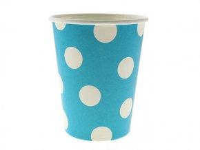 Pohár modrý s bielymi bodkami 270ml 6ks v balení