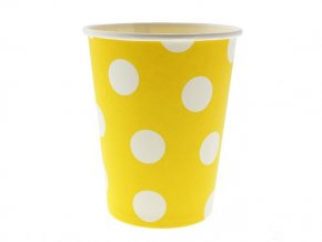 Pohár žltý s bielymi bodkami 270ml 6ks v balení