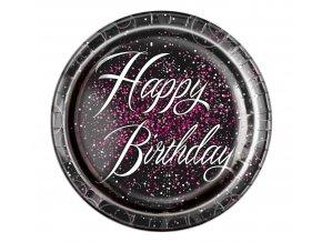 talerzyki papierowe urodzinowe glitz happy birt