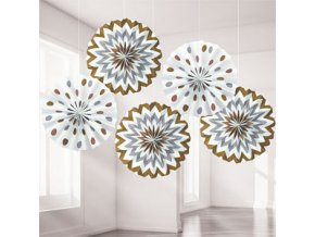 Metallic Dots & Chevrons Fan Decorations DCMEFANS