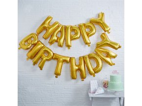 Happy Birthday Gold Balloon Bunting FOIL2233