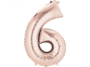 rose gold number 6 balloon FOIL2691 v1