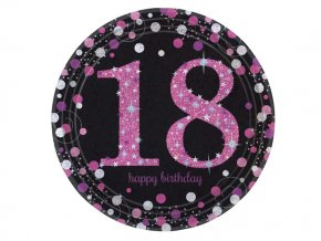 eng pl Pink Celebration 18th Prismatic Paper Plates 23 cm 8 pcs 20135 2