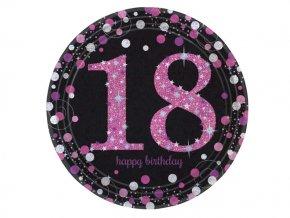 eng pl Pink Celebration 18th Prismatic Paper Plates 23 cm 8 pcs 20135 2