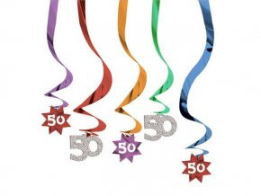 eng pl The Party Continues 50th Hanging Swirl Decorations 5 pcs 2564 2