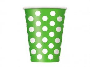 Pohár zeleno limetkovy s bielymi bodkami 355ml 8ks v balení