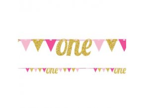 age one pink gold glitter bunting DECO1043 v1