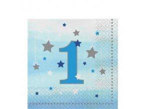 One Little Star Boy 1st Birthday Napkins 33cm OLSBNAPK2 v1
