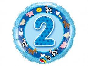 "Fóliový balón ""2"" Happy Birthday modrý 47cm  6"