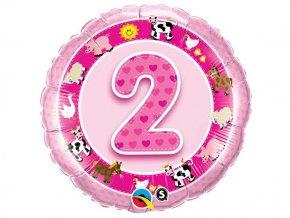 """Fóliový balón """"2"""" Happy Birthday ružový 47cm"""