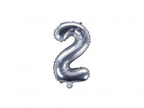 eng pl Mini Shape Number 2 Silver Foil Balloon 35 cm 1 pc 34280 1