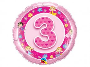 """Fóliový balón """"3"""" Happy Birthday ružový 47cm"""