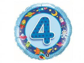 "Fóliový balón ""4"" Happy Birthday modrý 47cm"