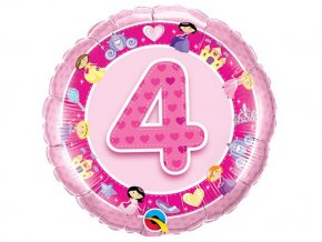 """Fóliový balón """"4"""" Happy Birthday ružový 47cm"""