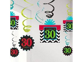 Chevron Stripes 30th hanging swirls 60cm party decorations cstr30hang