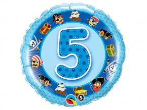 "Fóliový balón ""5"" Happy Birthday modrý 47cm"